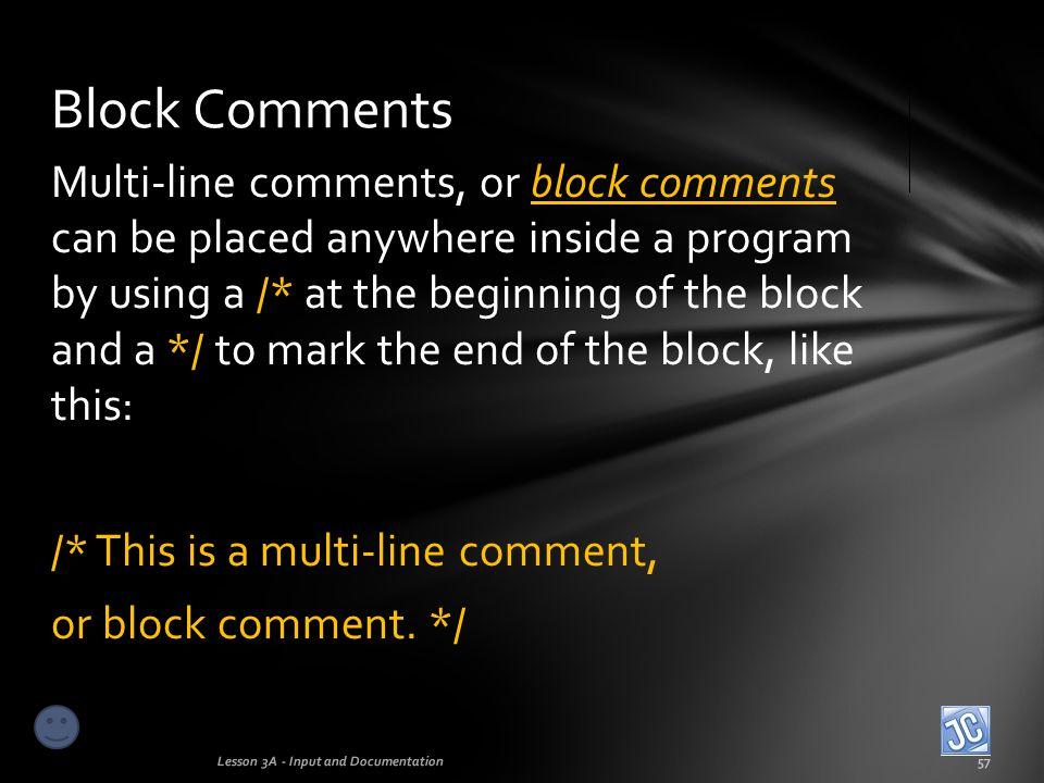 Block Comments