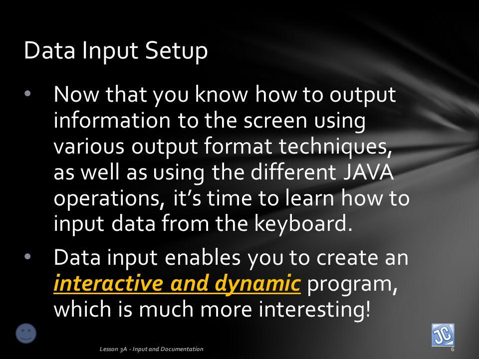 Data Input Setup