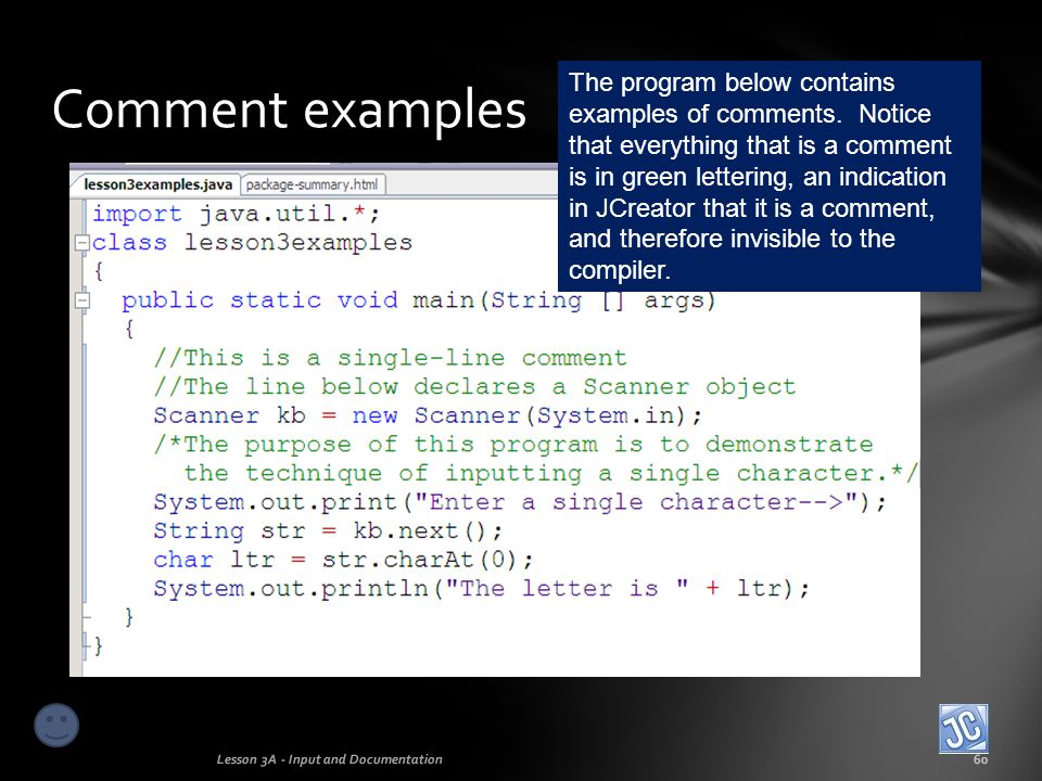 Comment examples