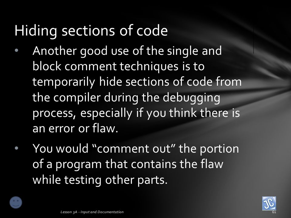 Hiding sections of code