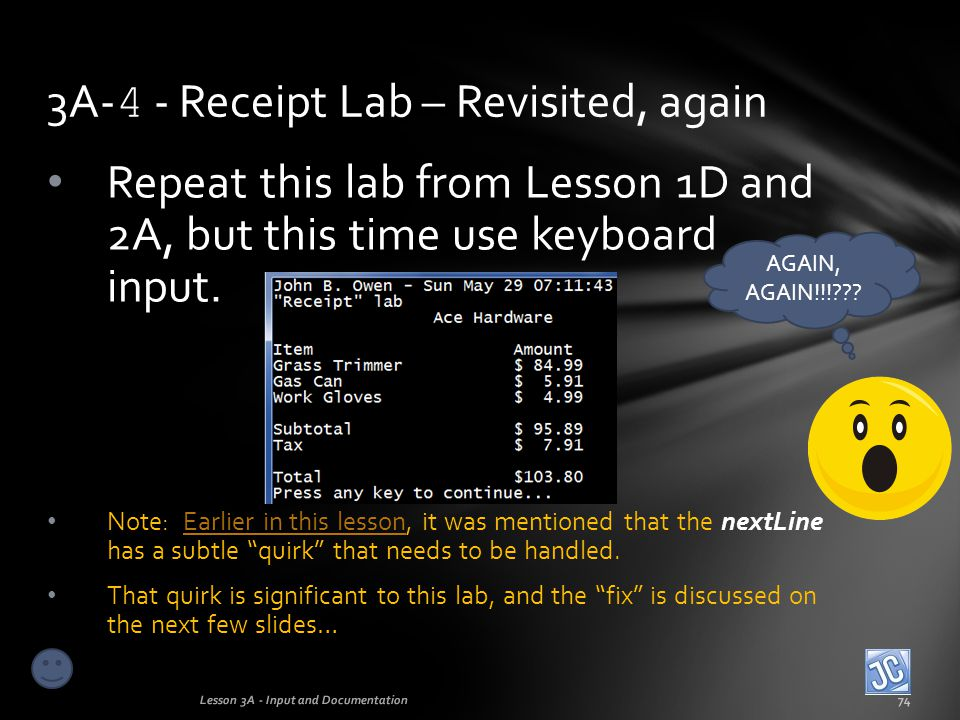 3A-4 - Receipt Lab – Revisited, again