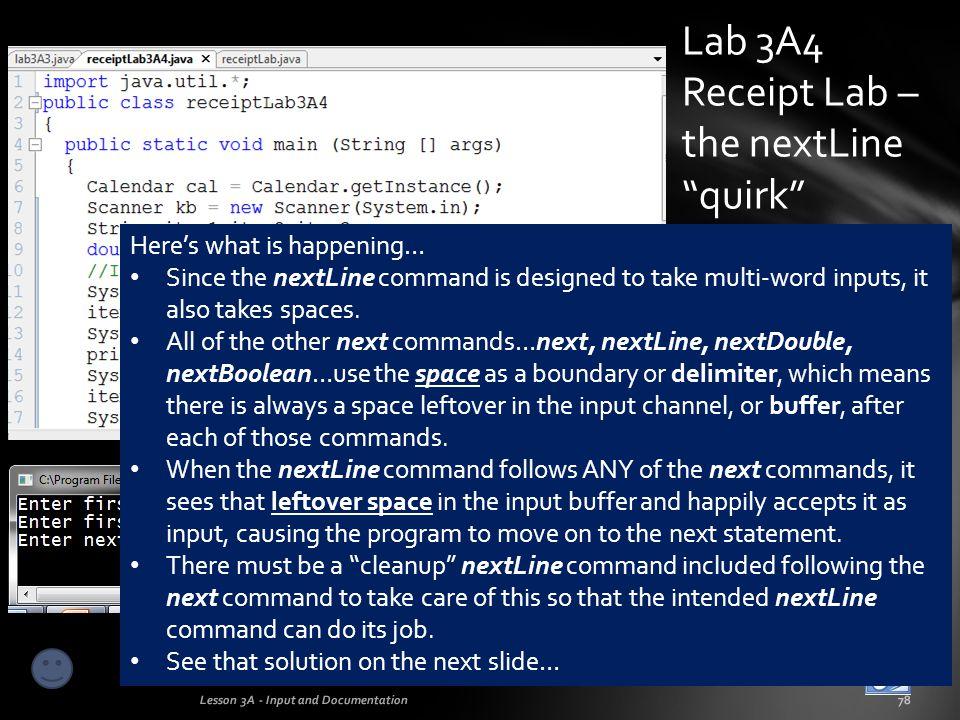 Lab 3A4 Receipt Lab – the nextLine quirk