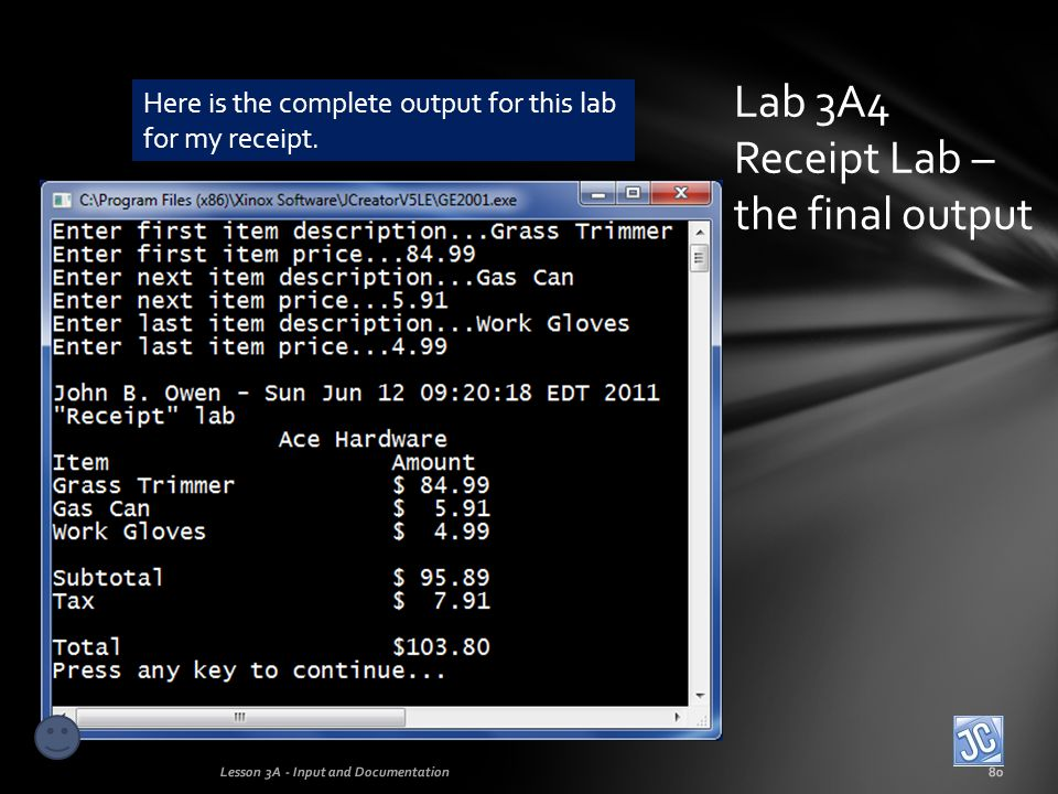 Lab 3A4 Receipt Lab – the final output