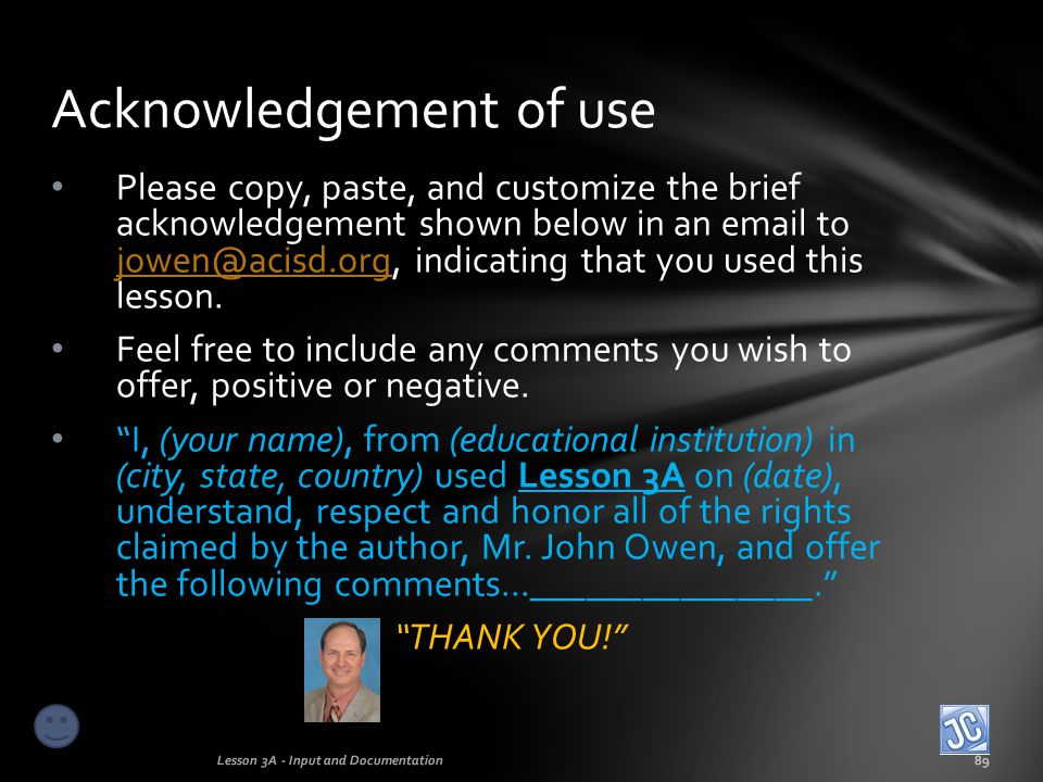 Acknowledgement of use