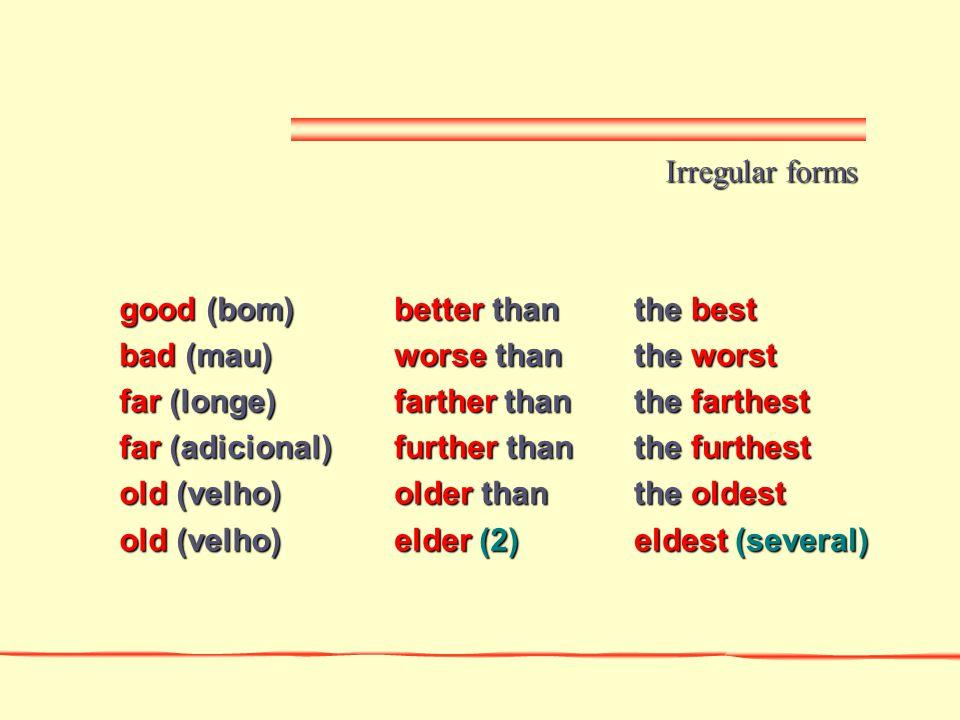 Irregular forms good (bom) bad (mau) far (longe) far (adicional) old (velho) better than. worse than.