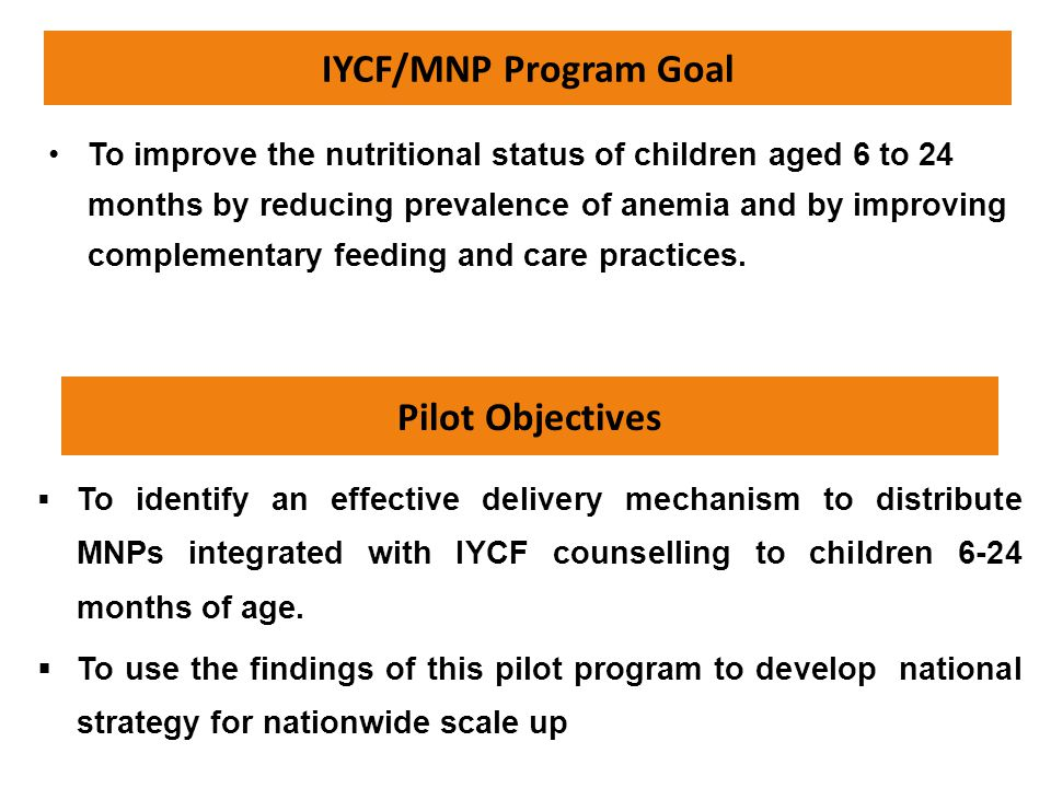 IYCF/MNP Program Goal Pilot Objectives