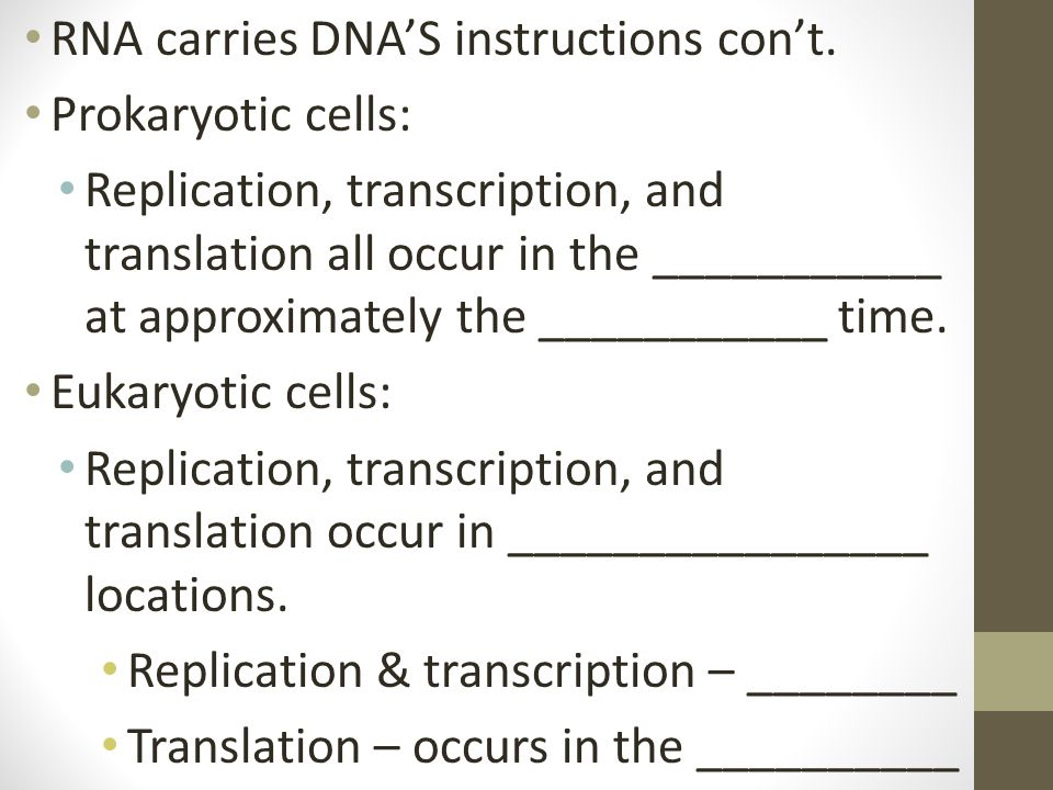 RNA carries DNA'S instructions con't.