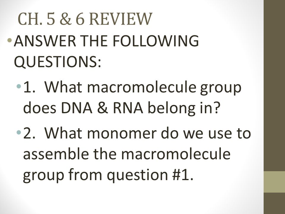 CH. 5 & 6 REVIEW ANSWER THE FOLLOWING QUESTIONS: