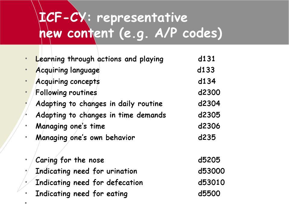 ICF-CY: representative new content (e.g. A/P codes)