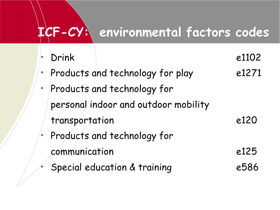 ICF-CY: environmental factors codes