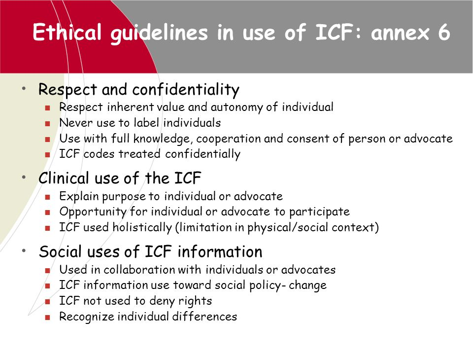 Ethical guidelines in use of ICF: annex 6