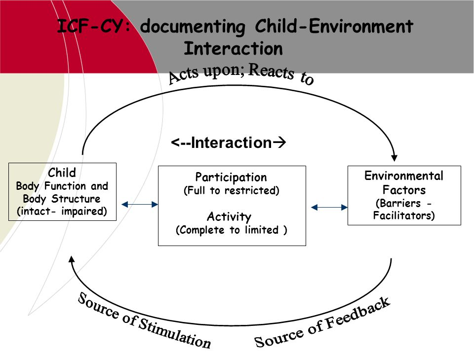 Interaction ICF-CY: documenting Child-Environment <--Interaction