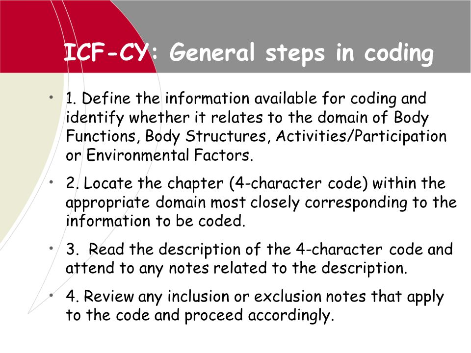 ICF-CY: General steps in coding