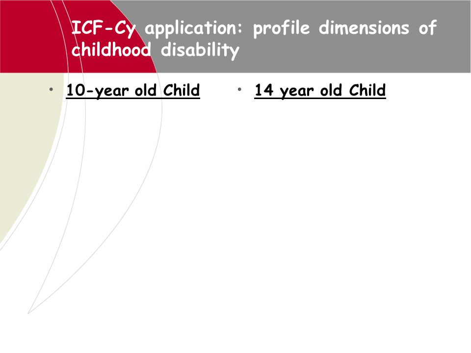 ICF-Cy application: profile dimensions of childhood disability