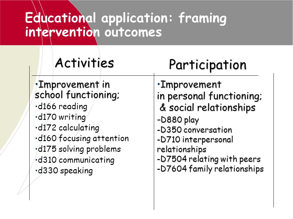 Educational application: framing intervention outcomes