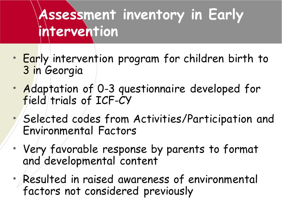 Assessment inventory in Early intervention