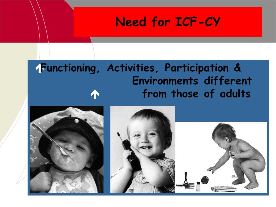 Need for ICF-CY Functioning, Activities, Participation & Environments different.
