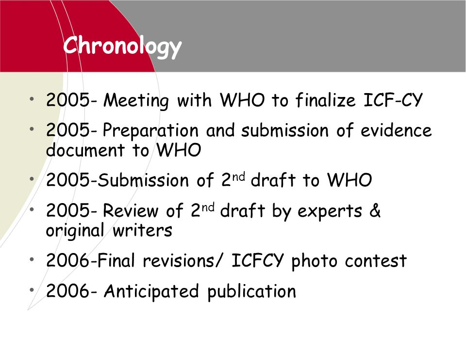 Chronology 2005- Meeting with WHO to finalize ICF-CY