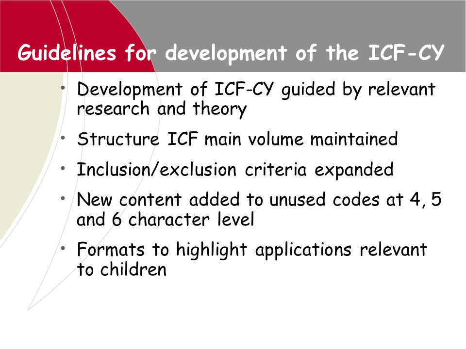 Guidelines for development of the ICF-CY