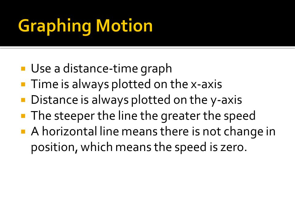 Graphing Motion Use a distance-time graph