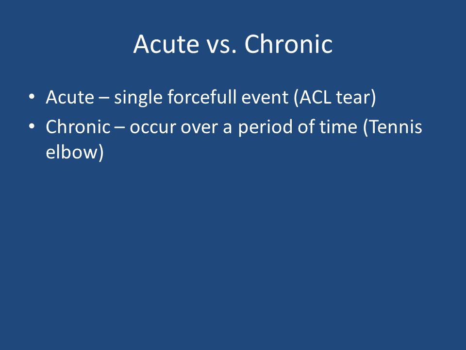 Acute vs. Chronic Acute – single forcefull event (ACL tear)