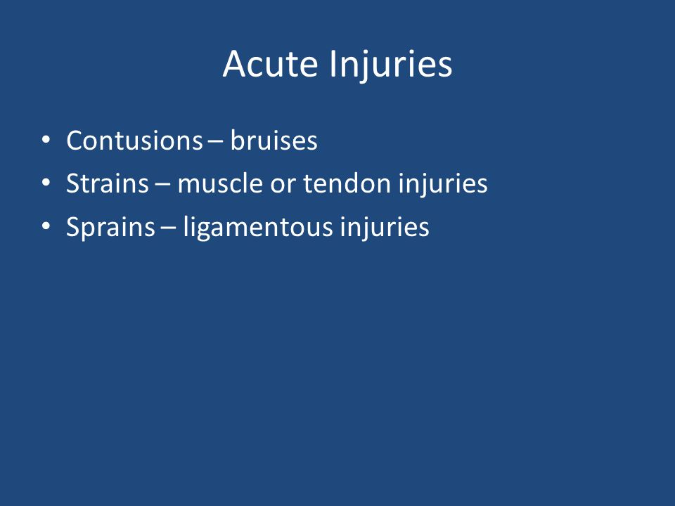 Acute Injuries Contusions – bruises
