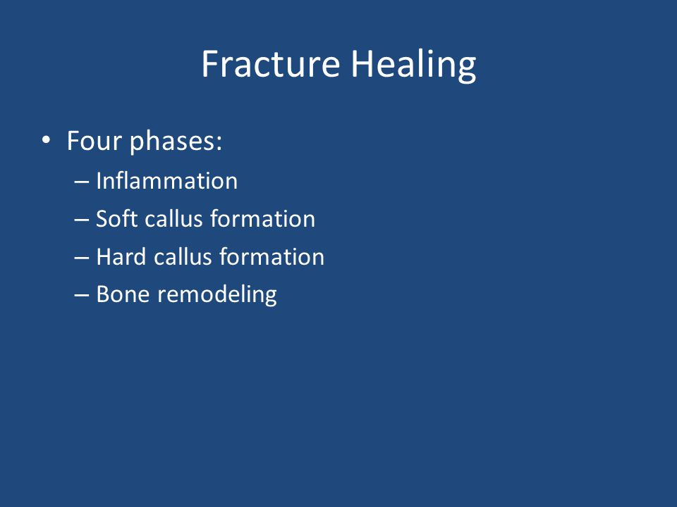 Fracture Healing Four phases: Inflammation Soft callus formation