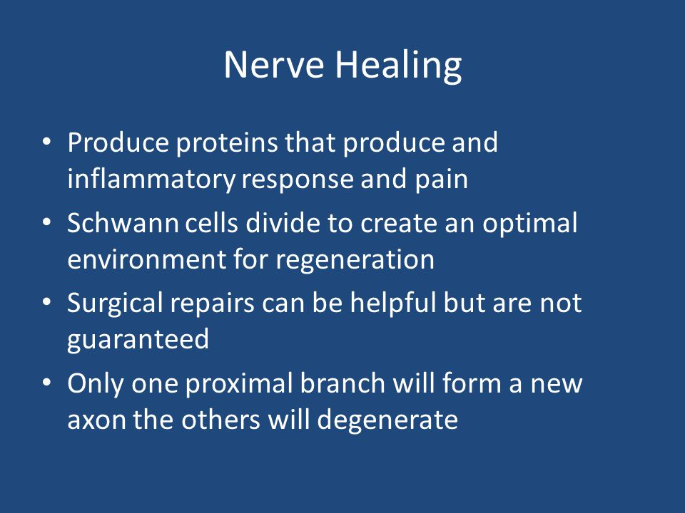 Nerve Healing Produce proteins that produce and inflammatory response and pain.