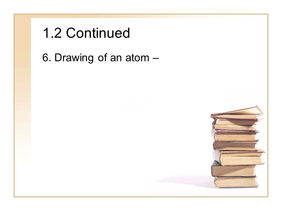 1.2 Continued 6. Drawing of an atom –