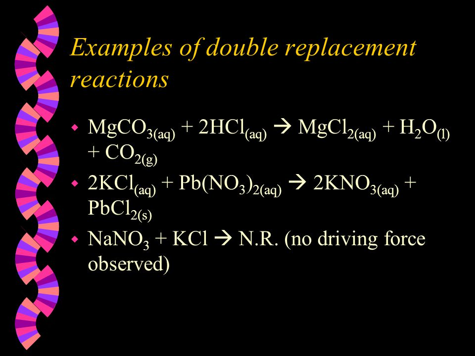 Examples of double replacement reactions