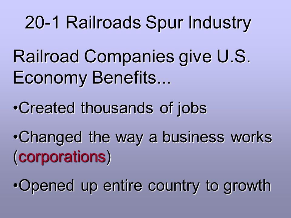 20-1 Railroads Spur Industry
