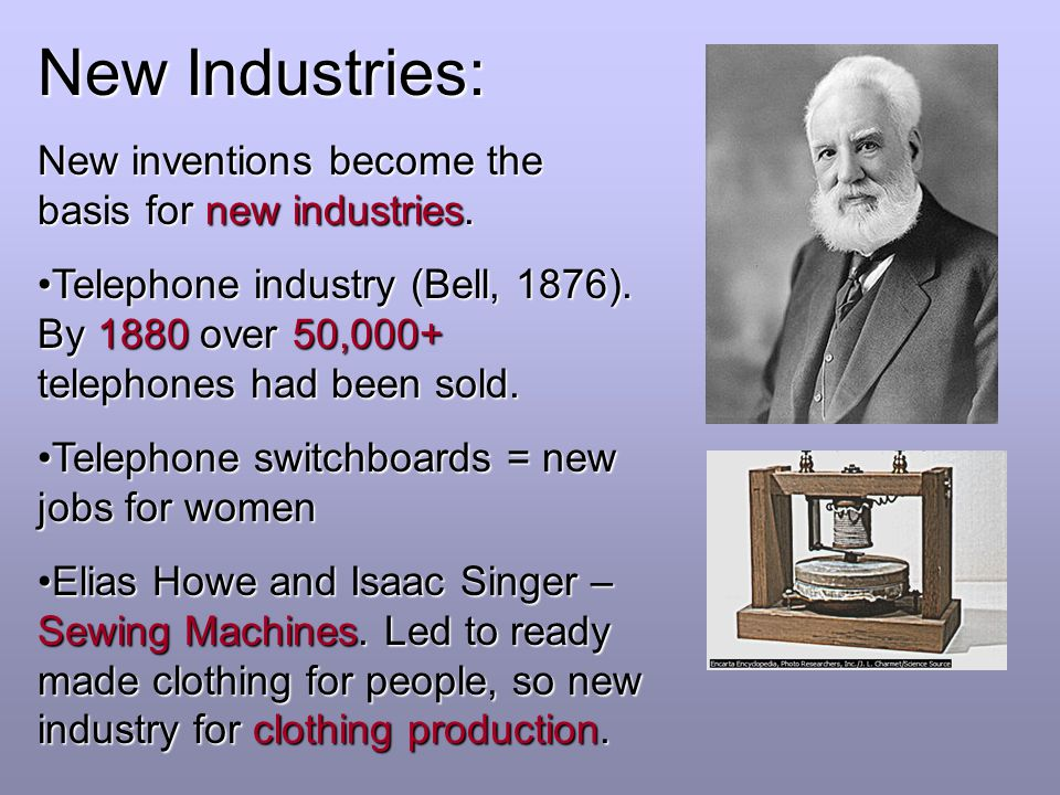 New Industries: New inventions become the basis for new industries.