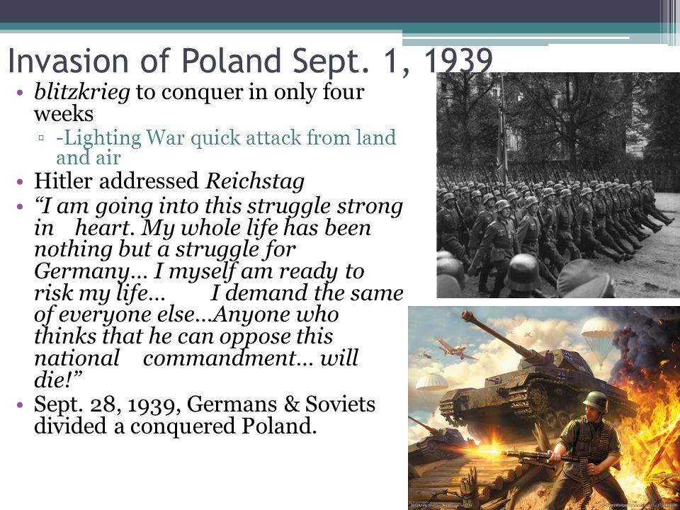 Invasion of Poland Sept. 1, 1939