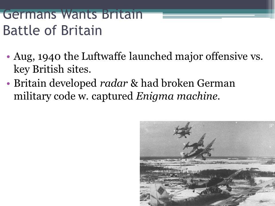 Germans Wants Britain Battle of Britain