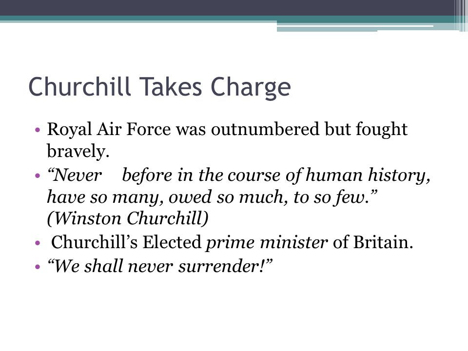 Churchill Takes Charge
