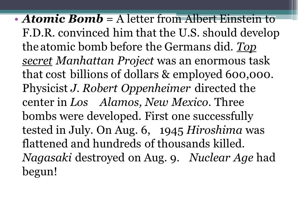 Atomic Bomb = A letter from Albert Einstein to F. D. R