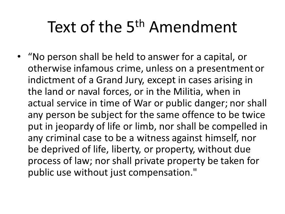 Text of the 5th Amendment