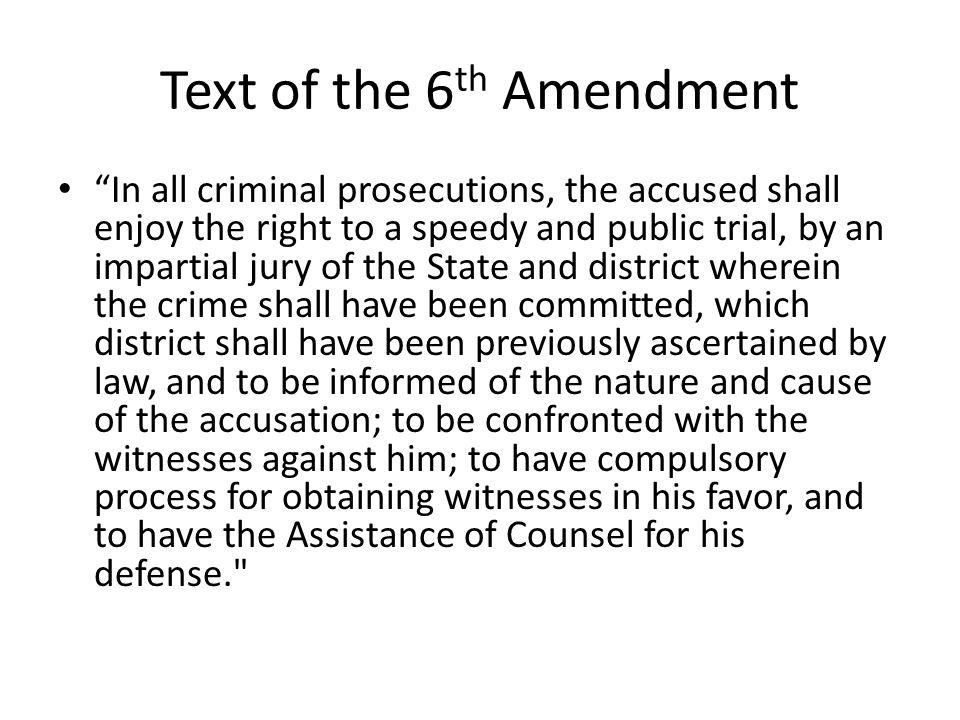 Text of the 6th Amendment