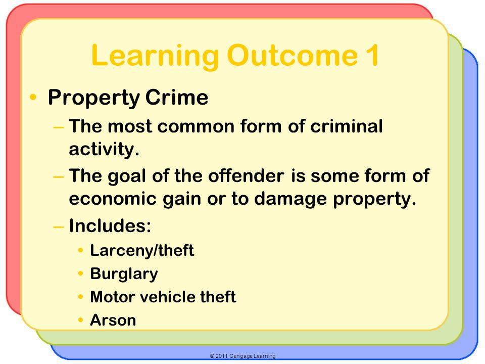 Learning Outcome 1 Property Crime