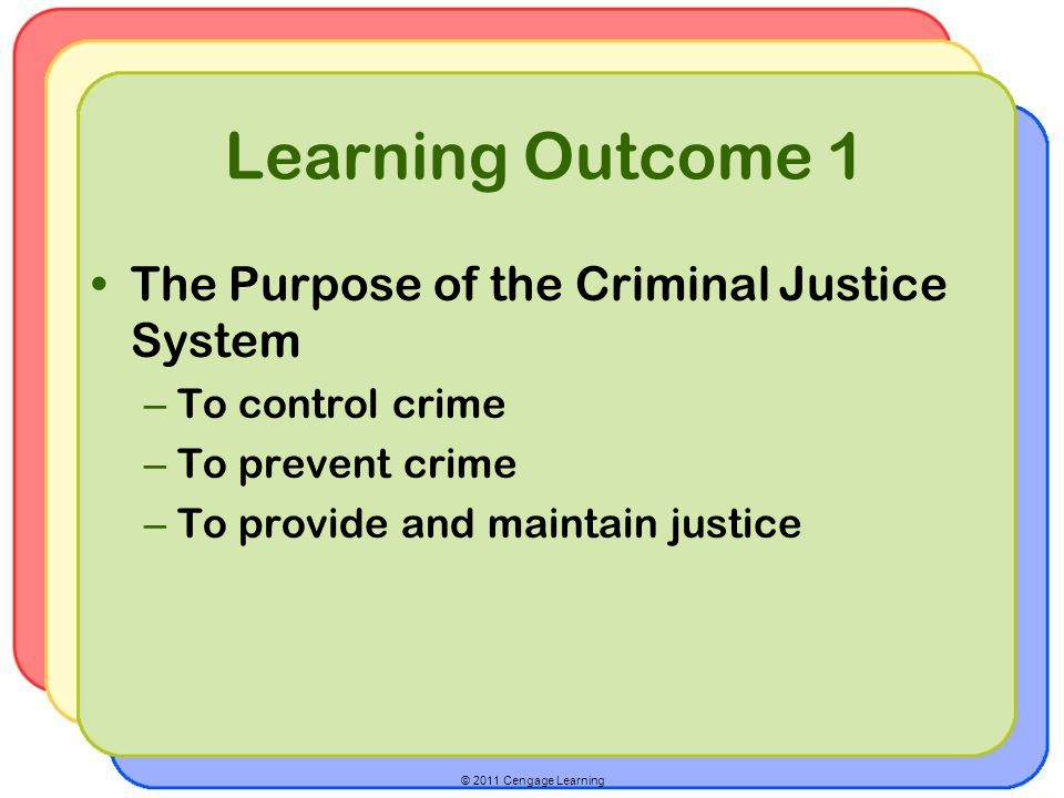 Learning Outcome 1 The Purpose of the Criminal Justice System