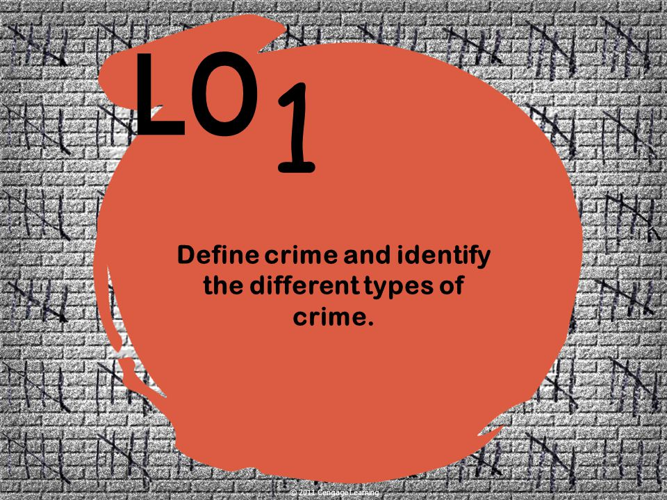 Define crime and identify the different types of crime.