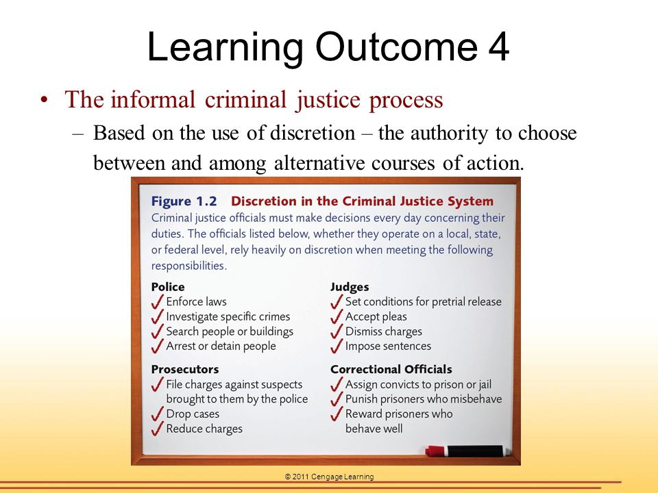 Learning Outcome 4 The informal criminal justice process