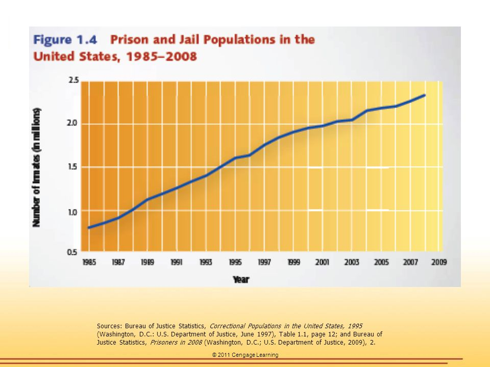 Sources: Bureau of Justice Statistics, Correctional Populations in the United States, 1995 (Washington, D.C.: U.S. Department of Justice, June 1997), Table 1.1, page 12; and Bureau of Justice Statistics, Prisoners in 2008 (Washington, D.C.; U.S. Department of Justice, 2009), 2.