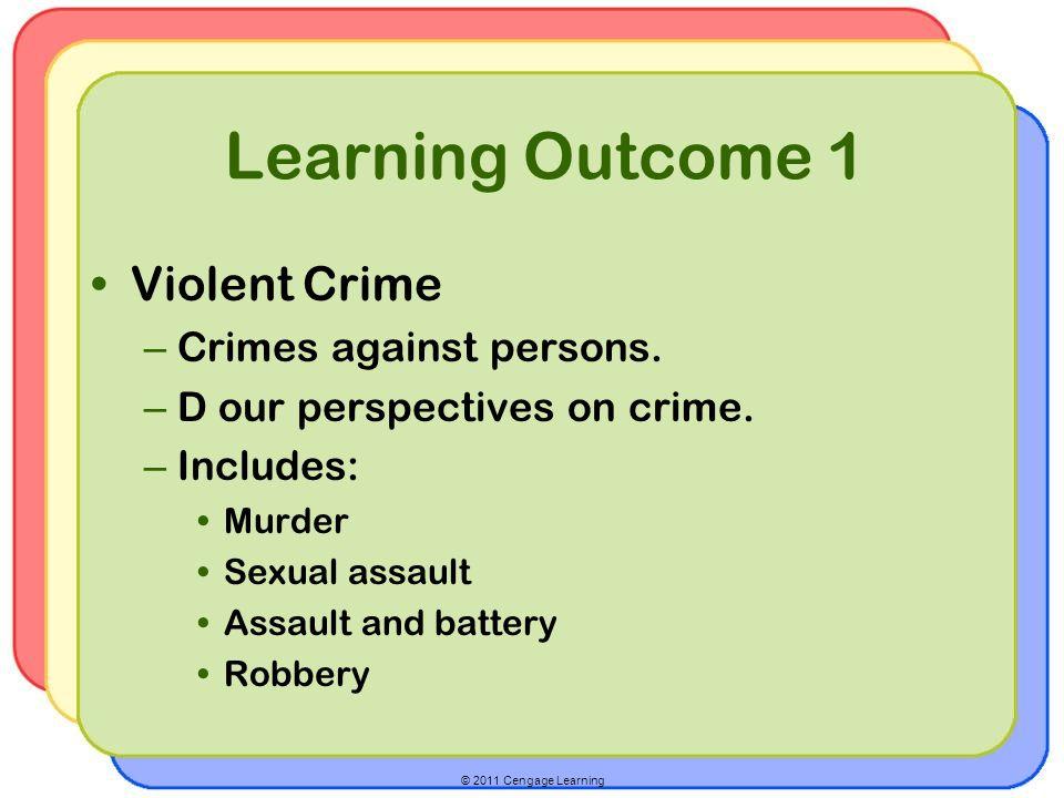 Learning Outcome 1 Violent Crime Crimes against persons.