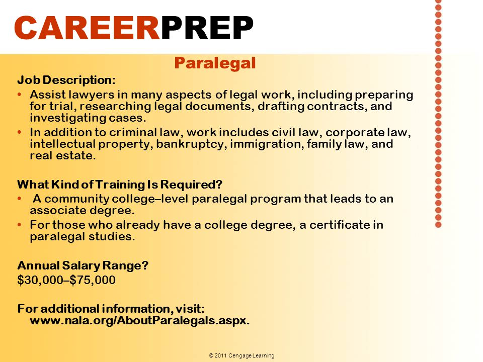 CAREERPREP Paralegal Job Description: