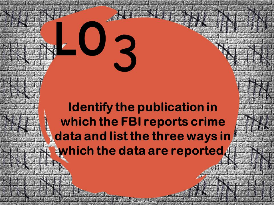 Identify the publication in which the FBI reports crime data and list the three ways in which the data are reported.