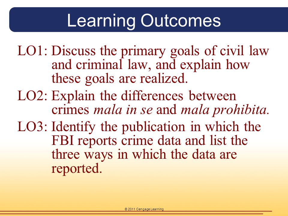 Learning Outcomes LO1: Discuss the primary goals of civil law and criminal law, and explain how these goals are realized.