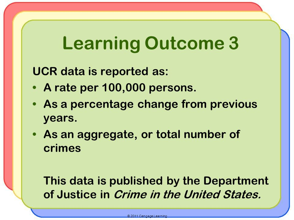 Learning Outcome 3 UCR data is reported as: