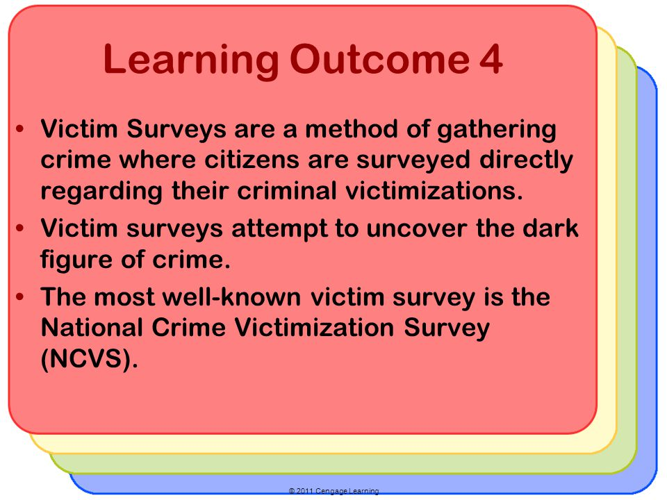 Learning Outcome 4 Victim Surveys are a method of gathering crime where citizens are surveyed directly regarding their criminal victimizations.