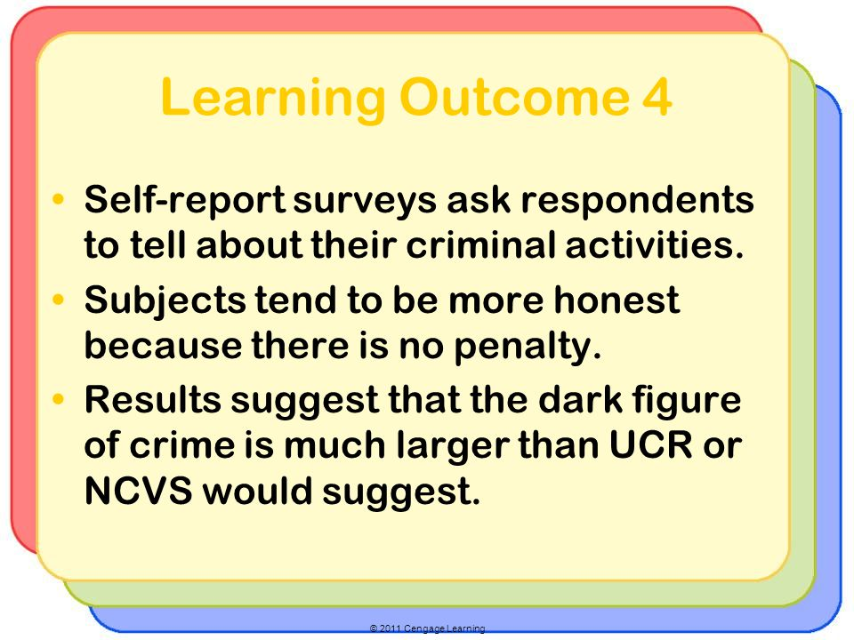 Learning Outcome 4 Self-report surveys ask respondents to tell about their criminal activities.
